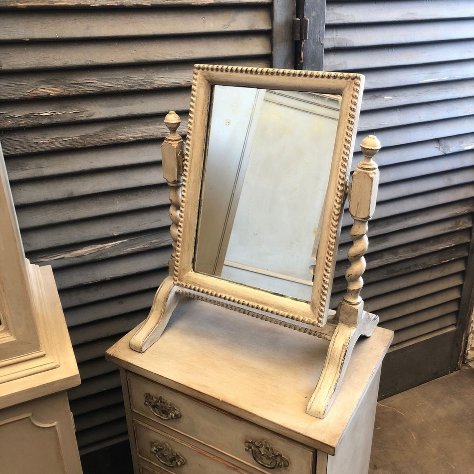 Astounding Vintage Grey Painted Country Farmhouse Ornate Dressing Table Swing Mirror Home Interior And Landscaping Ologienasavecom