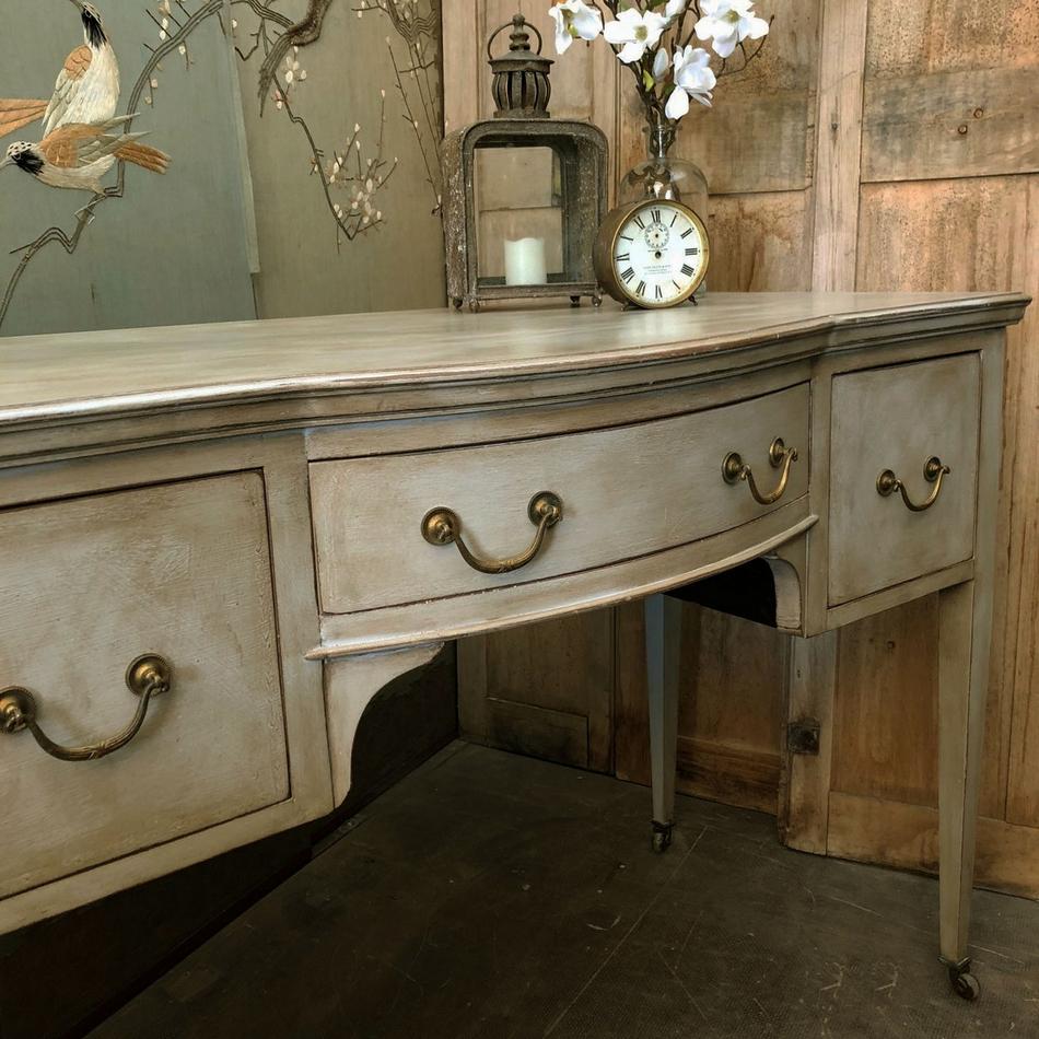 Bow Fronted Vintage Antique Grey Edwardian Dressing Table Desk Basin Base  Casters