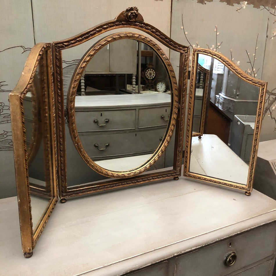 Vintage Gilded Trois Dressing Table Mirror With Lovely Vintage