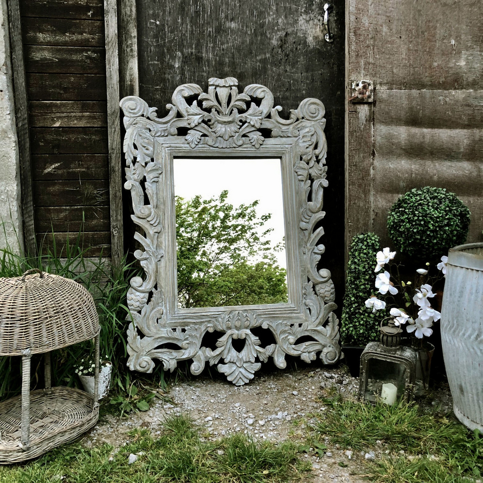 Sensational Large Grey Painted Rectangular Ornate Caved French Country Baroque Style Mirror Home Interior And Landscaping Ologienasavecom