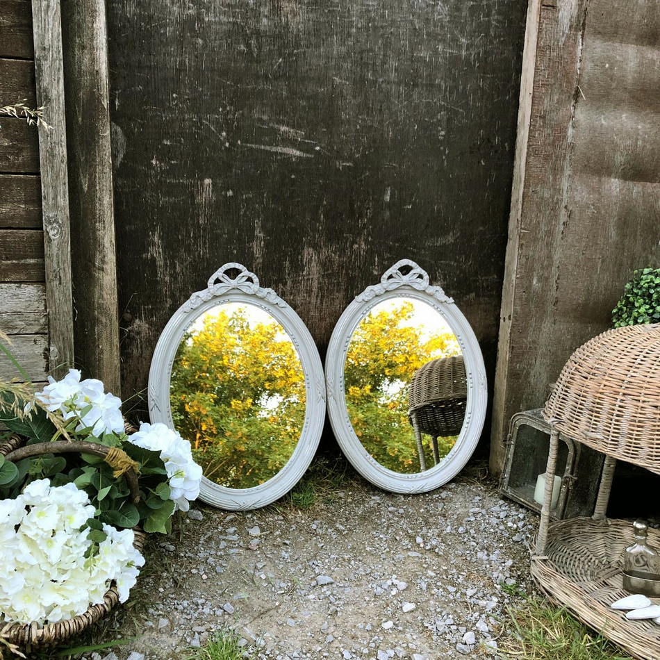 Magnificent Reserved Gustavian Country Style Matching Pair Grey Hand Painted Oval Ornate Mirrors Home Interior And Landscaping Ologienasavecom