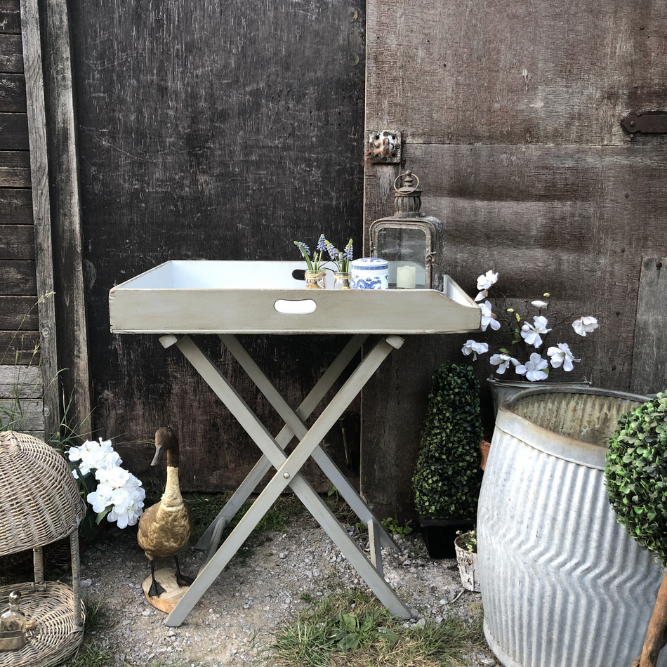 Brilliant Country Chic Vintage Grey White Hand Painted Folding Butlers Tray Side Bedside Table Download Free Architecture Designs Itiscsunscenecom