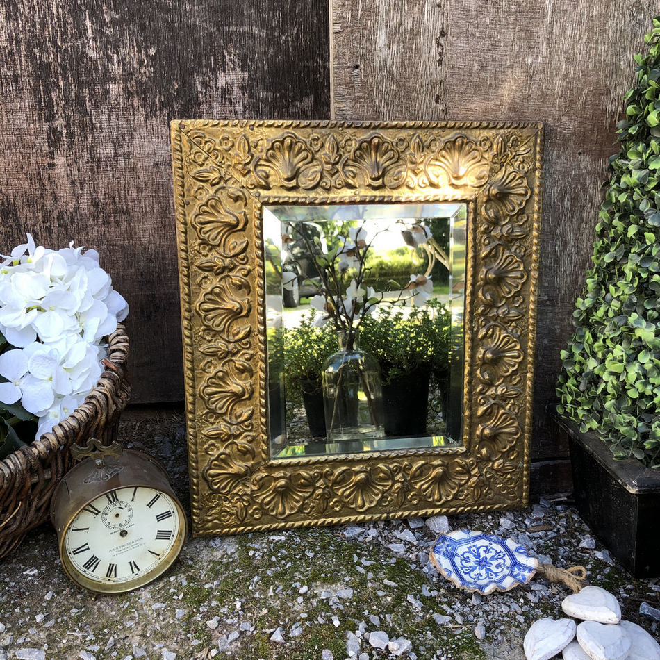 Ornate Small Rectangular Baroque Country Style Golden Tin On Wood Bevelled Wall Mirror Shop Crown Cottage Somerset Antique Vintage Furniture Hand Painted In The Unique Style Best Suited